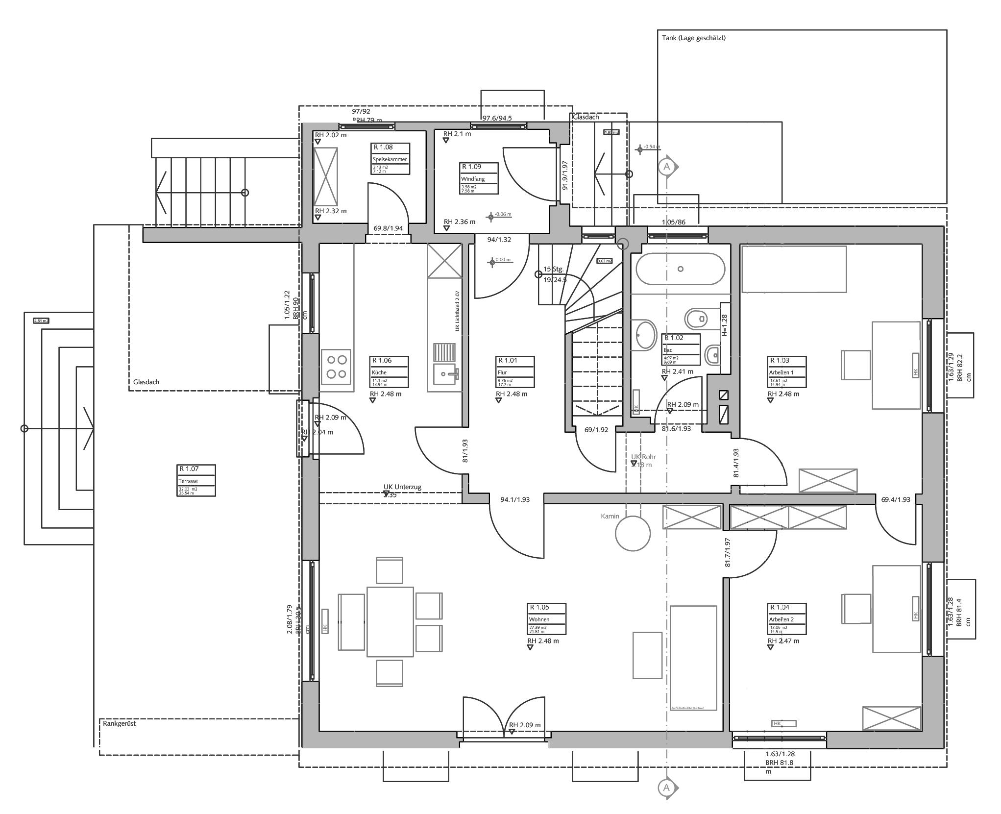 Wohnen im gr nen blauhaus architekten for Wohnhaus grundriss
