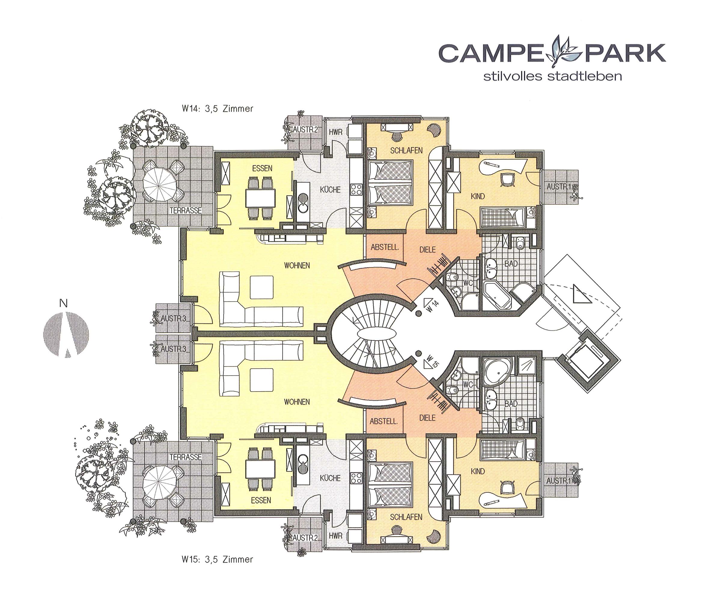 Modernes bauen wohnanlage mit b ros und tiefgarage for Moderne villa grundriss