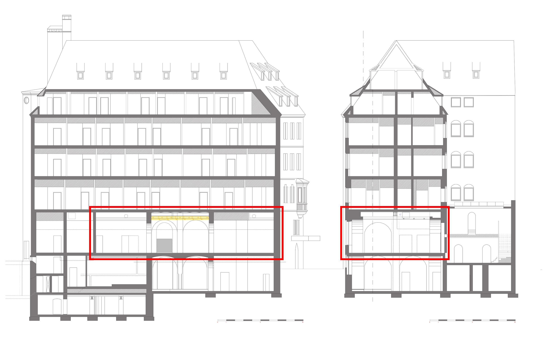 Umbau in historischer architektur restaurant und - Architektur schnitt ...