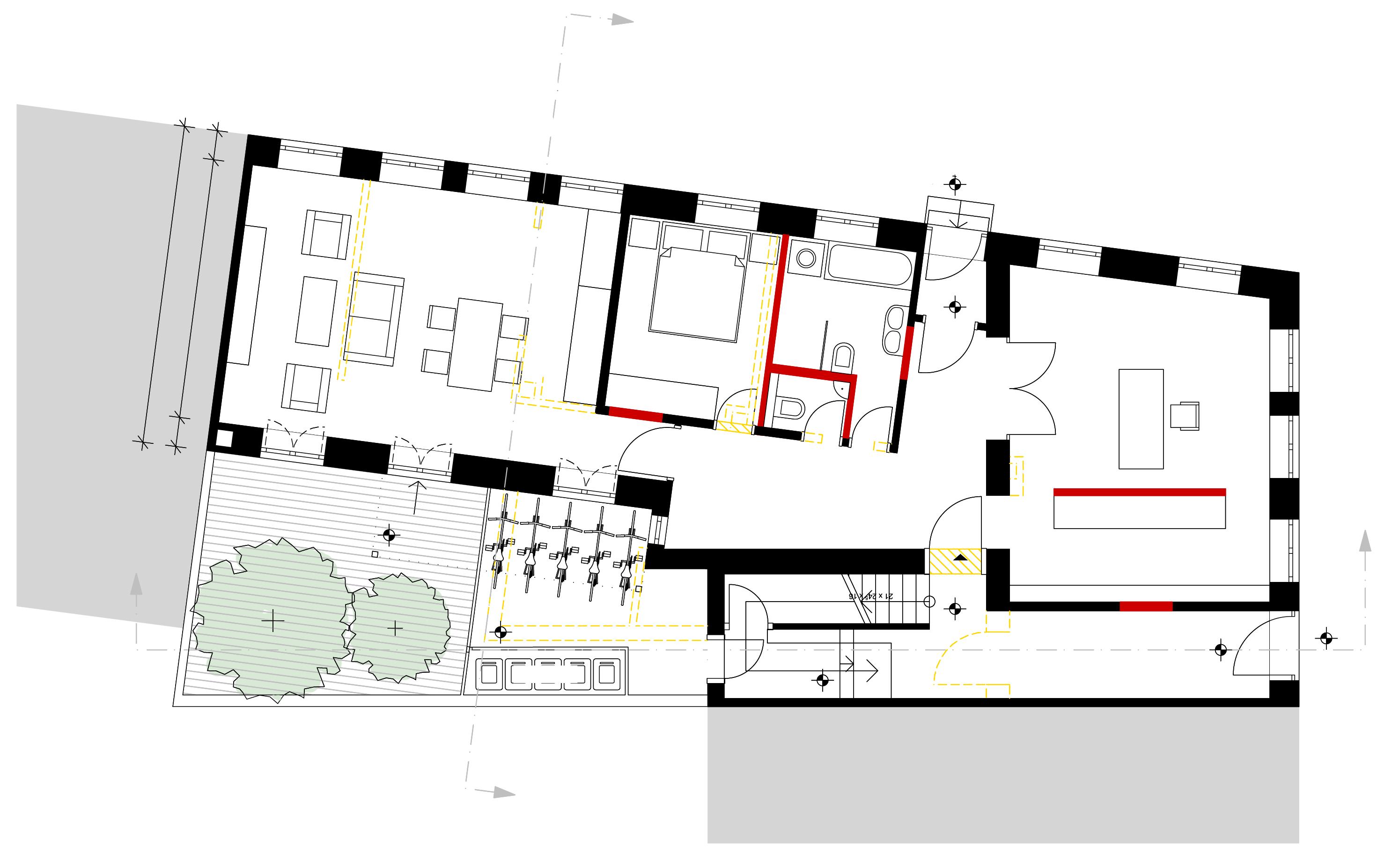 Umbau und erweiterung eines denkmalgesch tzten for Mehrfamilienhaus grundriss modern